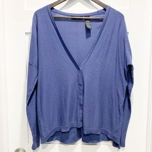 Verve Ami Blue Hi-Low Oversized Cardigan Sweater